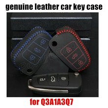 best selling Case fit for AUDI Q3A1A3Q7 car styling Genuine quality leather car key case Hand sewing car key cover DIY(China)