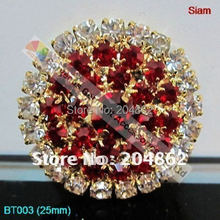 20pcs 25mm Siam Czech Crystal Rhinestone Button Round Metal Diamante button in Gold Sliver For Garment Browband Wedding Making
