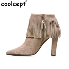 Shoes Women High Heels Tassel Boots Pointed Toe Fashion Ankle Motorcycle Boots Female Vintage Brand Boots Shoes Size 35-46 B248