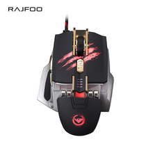 RAJFOO Laser Mouse 7 Keys Macro Settings Touch Roller USB Gaming Mouse Top Chip 7 Color Breathing Light 4000DPI Mause for Gamer