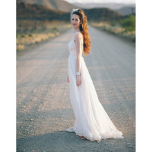 Wedding Dress Beach Custom Made Cap Sleeve Sweetheart 2017 Floor Length White Ivory Backless Chiffon Bride Sexy Dresses(China)