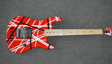 wholesale price China factory product EVH Kramer 5150 electric guitar with good finish;floyd rose;Red color with white stripes