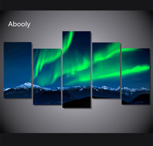 5 Piece Canvas Art Green Aurora Painting Large Framed Landscape Wall  Picture s Home Decor  Frames  Black  And  White  Picture