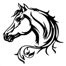 20*20CM Horse Head Beautiful Animal Pattern Vinyl Car Body Decorative Decal Car Stickers Black/Silver S1-2113