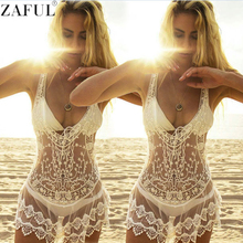 ZAFUL Women Bikini Dress Sexy Bikini Cover Up Lace Hollow Out Crochet Beach Cover Up Summer Robe De Plage Mini Plus Size Dress