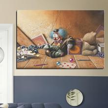 puppet Clown The Ball pen Poker Teddy bear Still life Realist Home decor Canvas Frameless Oil Painting drawing Spray picture(China)
