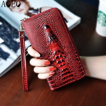 Ladies leather wallets 3D crocodile alligator women purse clutch Long Female Wristlet coin purse Phone Pocket Handy Girls Wallet(China)