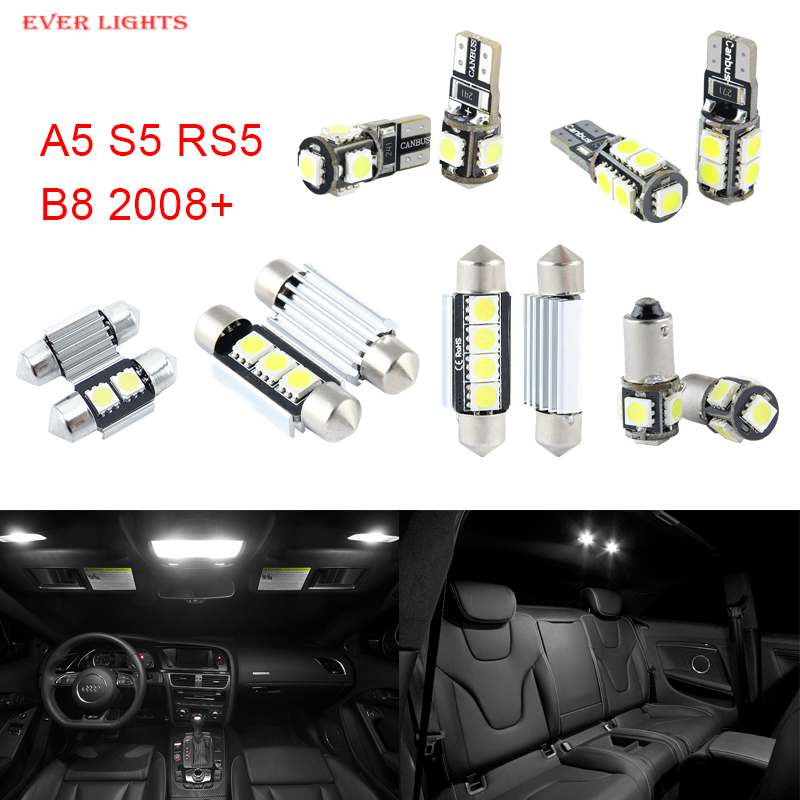 12pcs LED Canbus Interior Lights Kit Package For Audi A5 S5 RS5 B8 (2008+)<br><br>Aliexpress