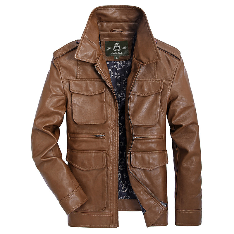 AFS JEEP Brand Clothing Men Windbreaker Leather Jacket Outwear Men Autumn Coat 148