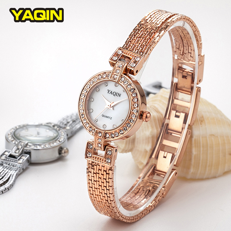 2017New Tassel Rhinestone Bracelet Women Watch Luxury Gold Plating Brand Yaqin Fashion Relogios Femininos Shell Dial Watches6186<br>