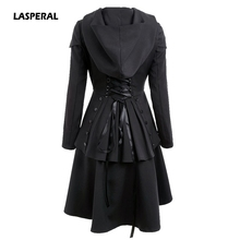 LASPERAL 2017 Women Autumn Winter Coat Layered Lace Up High Low Hooded Coats Trench Euro Style Back Cross Bandage Hooded Trench(China)