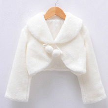 White Tvory Long Sleeve Warm Wedding Cloak Fur Trim Junior Plush Cape for communion dress flower girl jacket Bolero costumes(China)