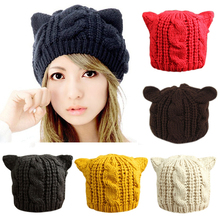 Lovely Cat Ears Hat Beanie Women Warm Solid Color Hip-hop Cap Lady Girls Cute Winter Knitted Skullies Beanies Casual Wool Caps(China)