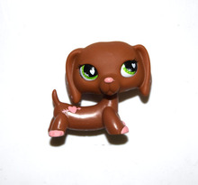 Pet Shop Pink Heart Dark Brown Green Eyes Dachshund Dog Figure Child Toy XMAX GIFT(China)