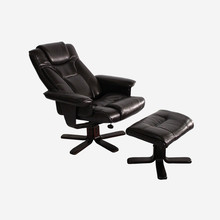 Modern Executive PU Leather Seat Chair Leisure Recliner Swivel With Ottoman Footstool Living Room Furniture Reclining Arm Chair