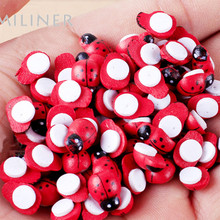 100Pcs Painted Ladybug Self Adhesive Wood Craft Fridge Paste Cabochon Scrapbooking Decoration 8x11mm(China)