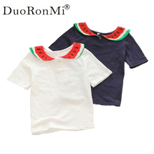 DuoRonMi Fashion New Baby Girls Clothes Summer Short Sleeve Watermelon Collar Cotton T Shirt Casual Child Kids Shirt