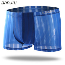 DANJIU Sexy Gay Transparent Male Underwear Ice Silk Stripe Seamless Man Boxer Shorts Thin Breathable Soft Mens Underpants Cue