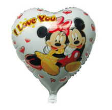 White Background Heart Shape Minnie Mickey Mouse Foil Balloons with I love You Letters(China)