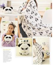 Candice guo plush toy cartoon animal panda coral fleece rest pillow cushion roll blanket new born kid Christmas present gift 1pc