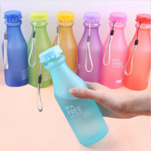 Portable Leak-proof Bike Sports Unbreakable 550ml Plastic Water Bottle Lemon Juice kettle Drinkware Free Shipping