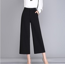 2017 New Fall Spring Summer Wide Leg Pants Black Sexy Ankle-Length Culottes Pants Plus Size Loose Women Clothing Pants Woman