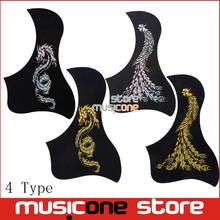 Phoenix And Dragon Pattern Acoustic Guitar Pickguard Pick Guard Sticker Bird Style Black