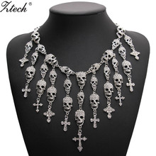 Trendy Gorgeous Fashion Necklace Skeleton skull Cross Jewelry crystal Department Statement Women Choker Necklaces Pendants(China)