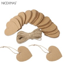 100pcs Wedding Party Heart Shaped Scalloped Kraft Paper Tag with 10M Rope (Brown)(China)