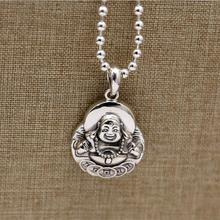 100% Solid Real Silver 925 Pendant For Necklace Men Women China Wealth&Luck Smile Buddha Figure Pure 925 Sterling Silver Jewelry