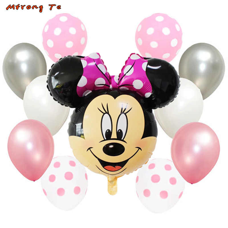 11pcs Mickey Minnie Mouse Foil Air Balloons Polka Dot For Baby Shower One Year Old
