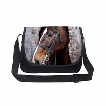 Trend Print Animal horse Men's Messenger Bags High College Student Messenger Bags Shoulder crossshoulder Bag(China)