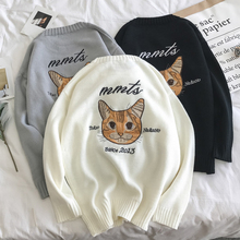 2017 Latest Harbor Trend Sweater Sweater Men Autumn And Winter New Korean Casual Shop Owner Original Cat Embroidery(China)