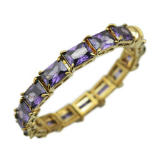 Cube Zircon Cuff Bangle Magnet Clasp Bracelet Rectangle CZ Crystal Fine Jewelry(China)