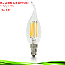 NEW LED E14 bulb E12 4W 6W 9W 110V 220V led filament candle Bulb dimmable warm /cool white led lamp chandlier crystal light