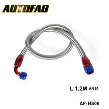 AUTOFAB - 1.2 Meter A10-0A AN10-90A fitting with Stainless steel braided fuel Line Hose AF-HS06