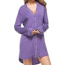 Sexy Womens Modal Nightgowns Soft Long Sleeve Dress Sleepwear Solid Sleep  Vintage Nightgown Sleepwears Blusas Mujer 12abebd1b