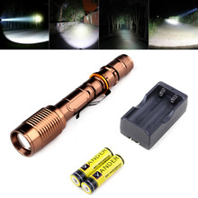 New Powerful Zoom 2000 Lumen Flashlight Lantern Cree XM-L T6 LED Tactical Police Torch Light For Rechargeable 18650 AAA Battery