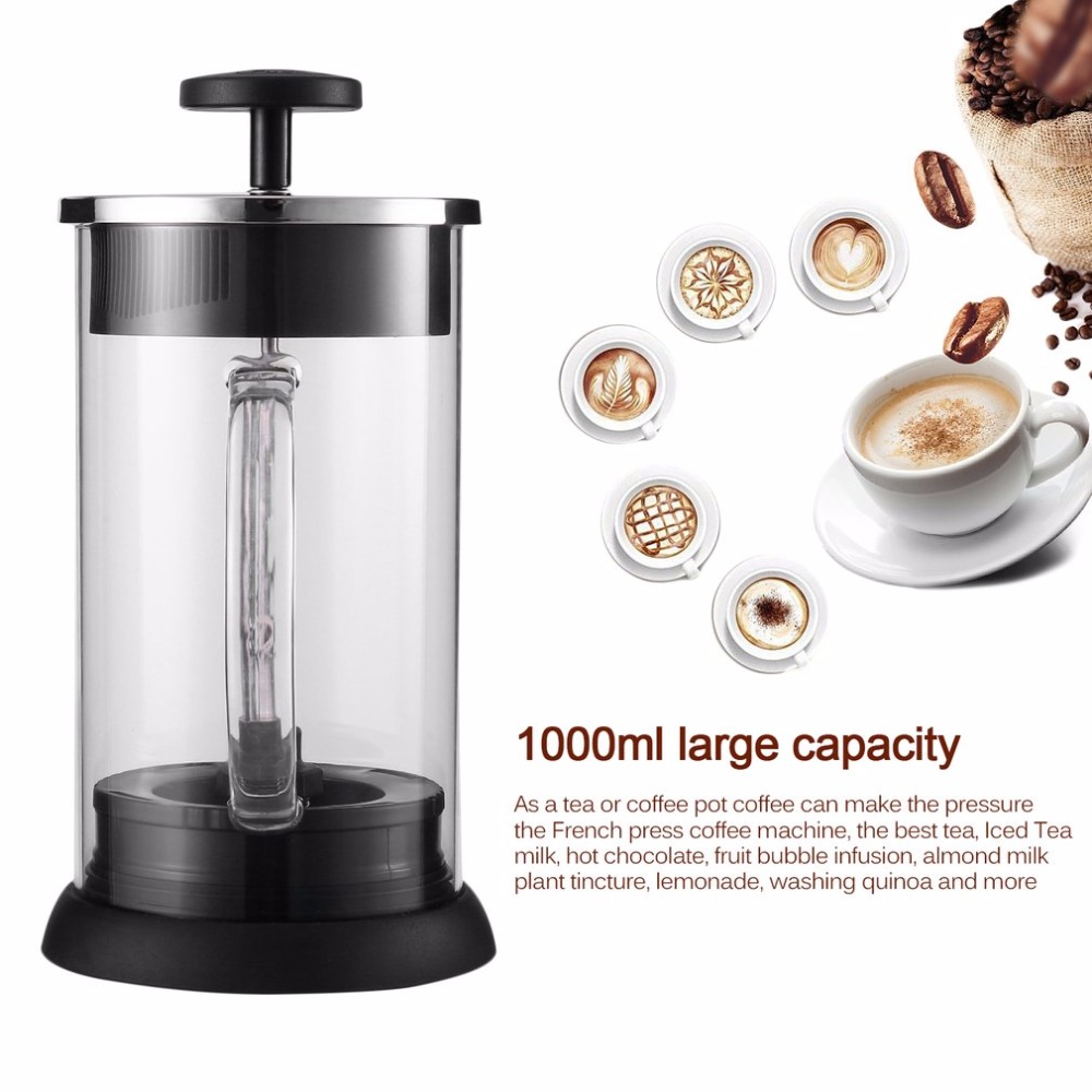 1000ml French Style Cafe Glass Coffee Pot Percolator Pump With Handle Kitchen Accessories French Press Coffee Tea Plunger Maker<br>