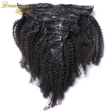 100% Brazilian Virgin 6a Grade Remy Human Hair Afro Kinky Curly Clip In Hair Extensions 7PCS/Set 120G Clip Ins Weave
