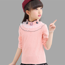 Kids T-Shirts For Girls Dresses Spring Lace Girls T-Shirts Long Sleeve Children Tops 4 5 7 9 11 12 Years Girls Tees(China)