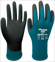 6 pairs  Blue Nylon Gardening Work Glove With Nitrile Sandy Dipped Safety Glove