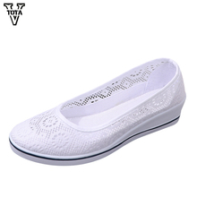 VTOTA Women Flats Spring Autumn Shoes Woman Cotton Fabric Casual Shoes Woman Breathable Lady Shoes 4.5 CM Height Increasing TB