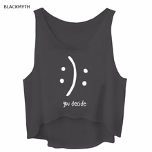 BLACKMYTH Summer you decide Letters Print Women's Loose Fitness Shirts Black Grey Crop Clothing Tank Tops