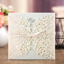WISHMADE Luxury Lace Laser Cutting Invitation Cards Wedding with Light Blue Inner Paper Card Envelope Custom Printed   AW7015