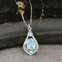 Fashion Designed Imitation Diamond Blue Sapphire Pendant Necklace Vintage Necklaces Women Crystal Decoration Moon Accessories(China)