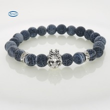 Buy Silver Plated Lion Charm Bracelets Blue Weathered Stones Beads 8 MM Elastic Adjusted Women Men Bracelets Fashion Jewelry for $3.92 in AliExpress store