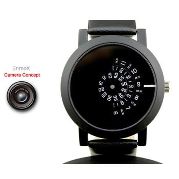 2017 design criativo enmex relógio de pulso camera conceito breve design simples especial de discos digitais mãos moda quartzo relógios