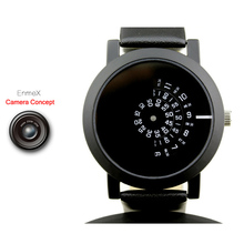 2017 Enmex creative design wristwatch camera concept brief simple design special digital discs hands fashion quartz watches(China)
