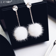 New Rhinestone Crystal Stud Earrings Mink Hair Imitation Rabbit Hair Ball Earring Fashion Long Earrings For Women Girls Jewelry